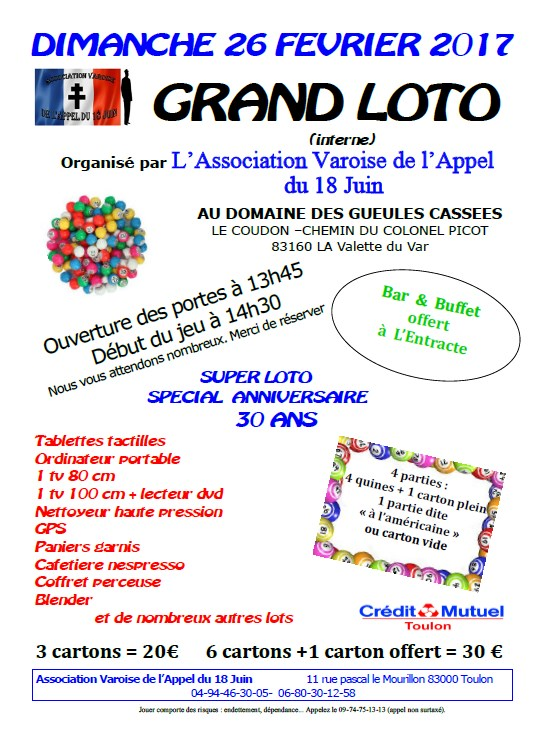 affiche loto 2017 association varoise appel 18 juin